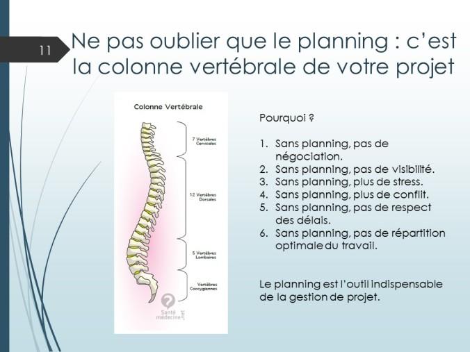 planning colonne verterbrale projet